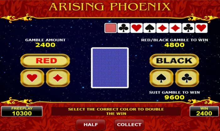 All Online Pokies - Gamble Feature - To gamble any win press Gamble then select Red or Black or suit