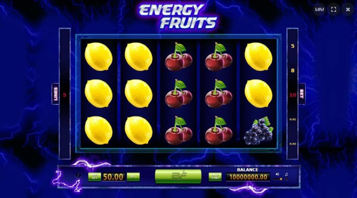 A fruit themed main game board featuring five reels and 5 paylines with a $25,000 max payout. by All Online Pokies