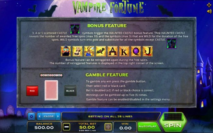 Bonus Feature - 3, 4 or 5 scattered castle symbols trigger the Haunted House bonus feature. Gamble feature game rules. by All Online Pokies