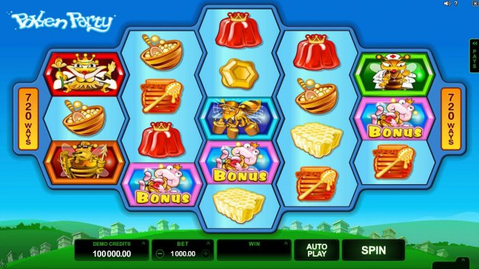 All Online Pokies - A honey bee themed main game board featuring five reels and 720 winning combinations with a $440,000 max payout.