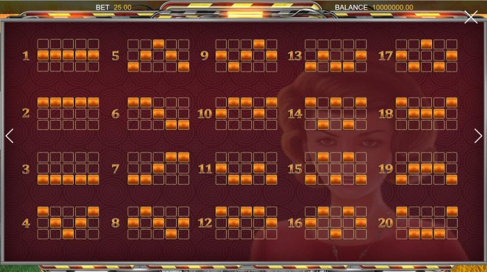 Payline Diagrams 1-20 - All Online Pokies