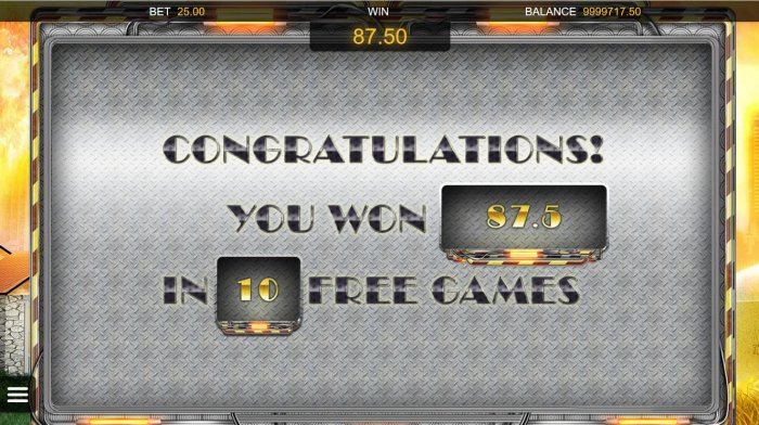 All Online Pokies - Player wins 87.50 in 10 free games.
