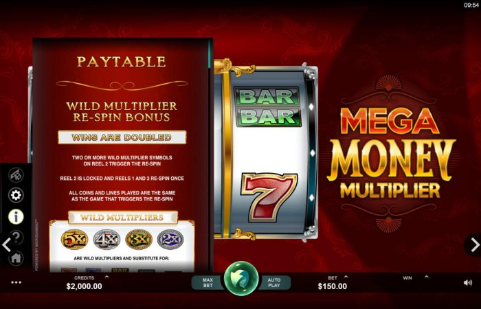 Wild Multiplier Re-Spin Bonus - Two or more wild multiplier symbols on reel 2 trigger the Re-Spin. - All Online Pokies