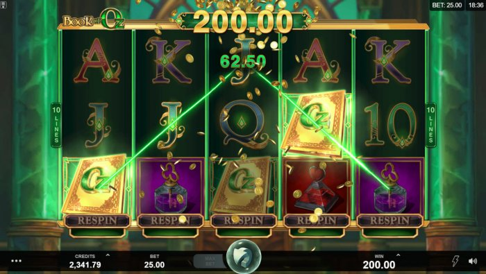 All Online Pokies image of Book of Oz Respin Feature