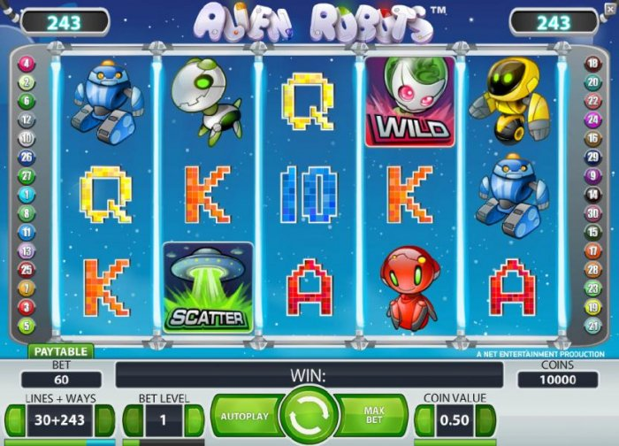 main game board featuring five reels, 243 ways and a chance to win up to 50000 coins by All Online Pokies