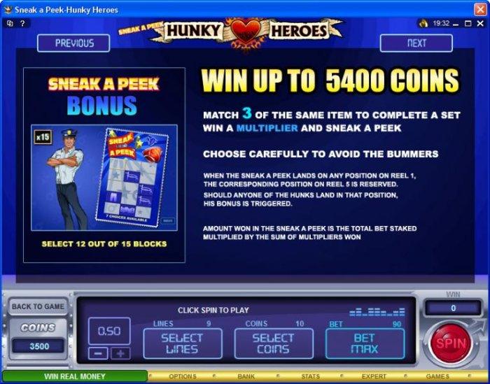 Sneak a Peek-Hunky Heroes by All Online Pokies