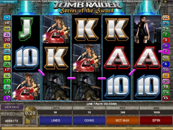 All Online Pokies image of Tomb Raider Secret of the Sword
