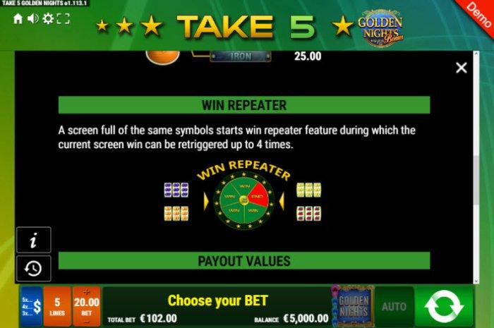 Take 5 Golden Nights Bonus by All Online Pokies
