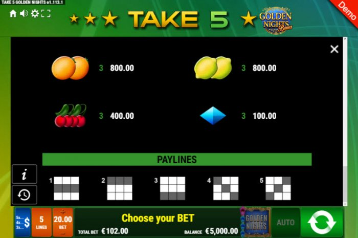 Paylines 1-5 - All Online Pokies