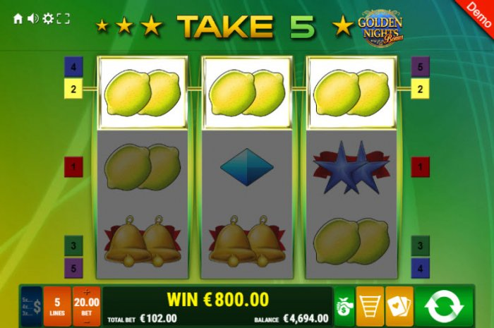 All Online Pokies image of Take 5 Golden Nights Bonus