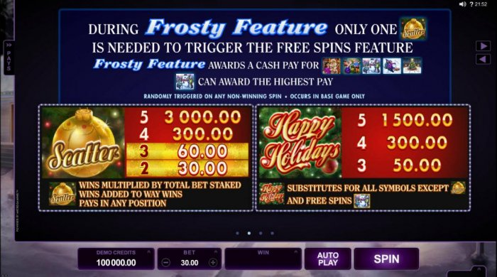 Scatter and wild symbols paytable. The scatter symbol is represented by a gold ornament and the wild symbols is represented by the Happy Holidays game logo. - All Online Pokies