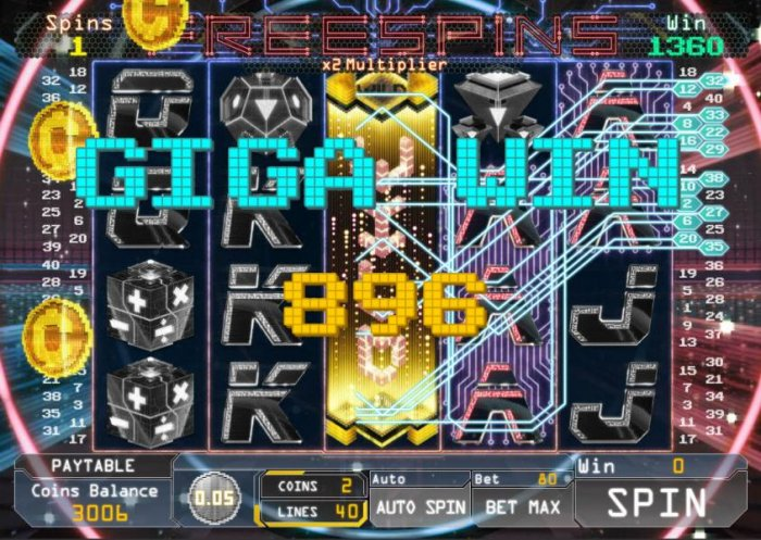 An 896 coin giga win is triggered by multiple winning combinations by All Online Pokies