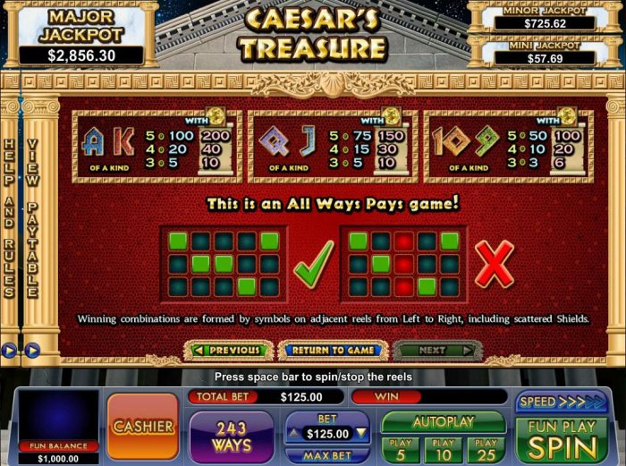 Low value game symbols paytable. This is an all ways pays game! by All Online Pokies