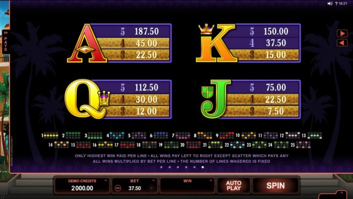Low value game symbols paytable and payline diagrams by All Online Pokies