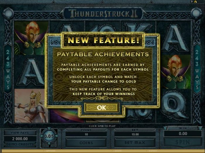 ThunderStruck II slot game new feature payout achievements - All Online Pokies