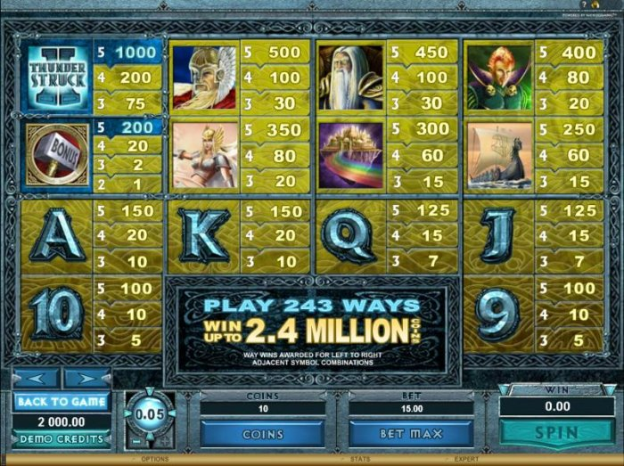 Slot game symbols paytable - Win up to 2.4 million coins by playing 243 ways. - All Online Pokies