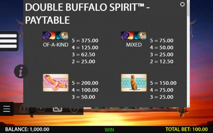 All Online Pokies image of Double Buffalo Spirit