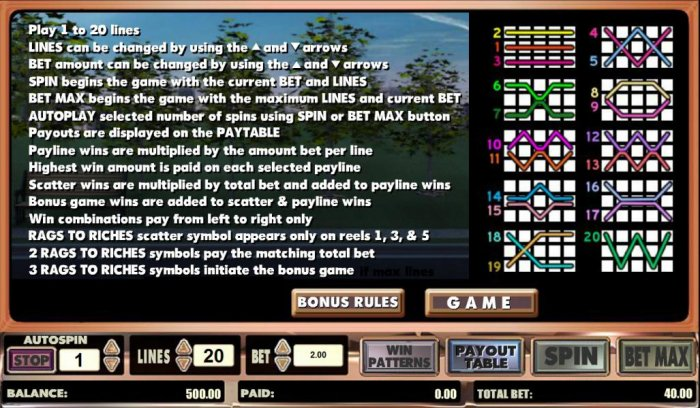 All Online Pokies image of Rags to Riches 20 line