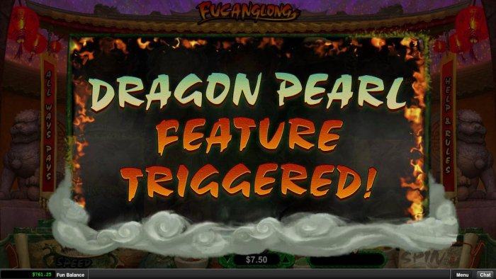 All Online Pokies - Dragon Pearl Feature Triggered.