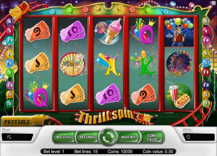 main game board featuring five reels and 15 paylines by All Online Pokies