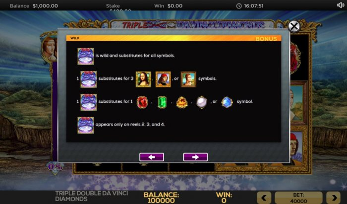 All Online Pokies image of Triple Double Da Vinci Diamonds