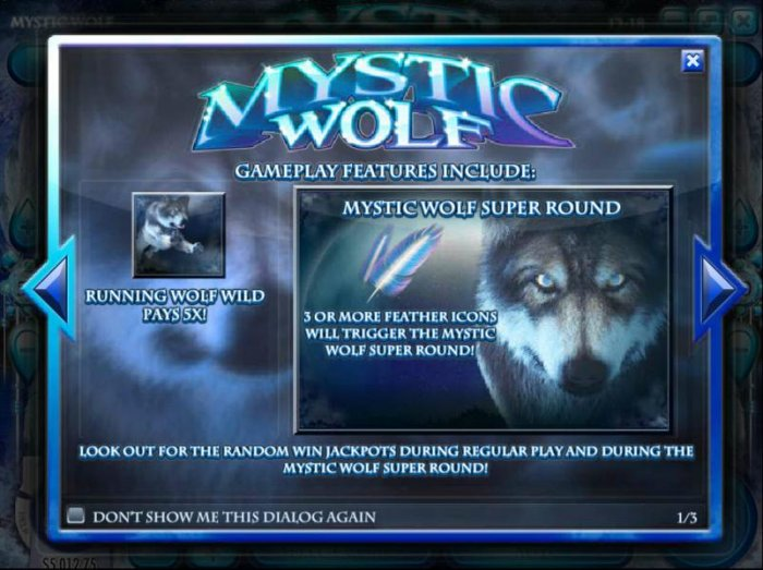 All Online Pokies - Game play fetaures include Running Wold Wild Pays 5x and Mystic Wolf Super Round