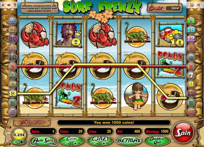 All Online Pokies - A winning Five of a Kind contributes to a 1000 coin payout.