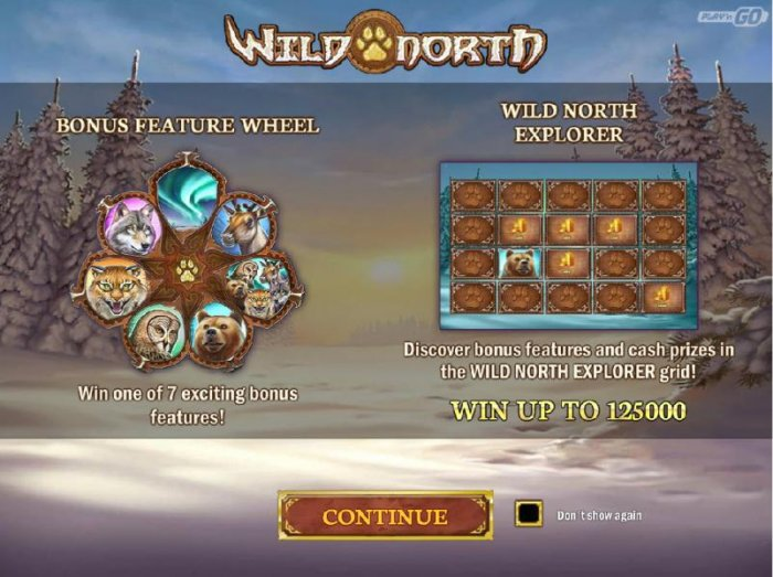Bonus Wheel feature - Win one of 7 exciting bonus features! Wild North Explorer - Discover bonus features and cash prizes in the Wild North Explorer grid. Win up to 125,000 - All Online Pokies