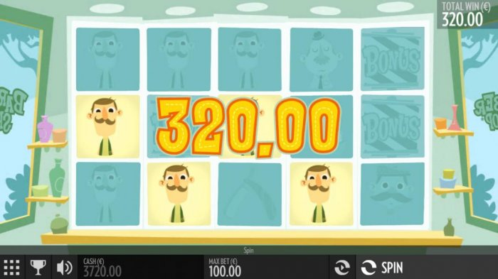 Multiple winning paylines triggers a 320.00 big win! by All Online Pokies