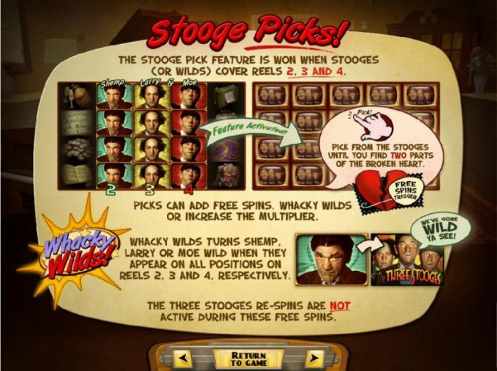 Stooge Picks - The Stooge Pick feature is won when stooges (or wilds) cover reels 2, 3 and 4. Pick from the stooges until you find two parts of the broken heart - All Online Pokies