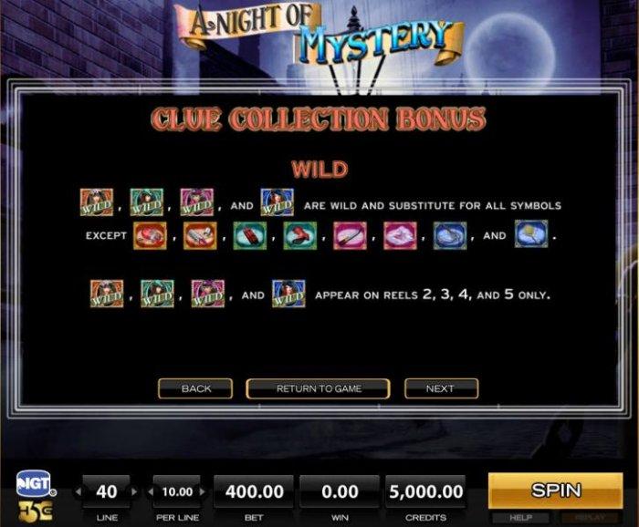 All Online Pokies - Clue Collection Bonus - Wild contniued