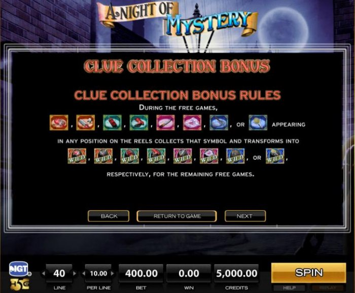 All Online Pokies - Clue Collection Bonus - Rules