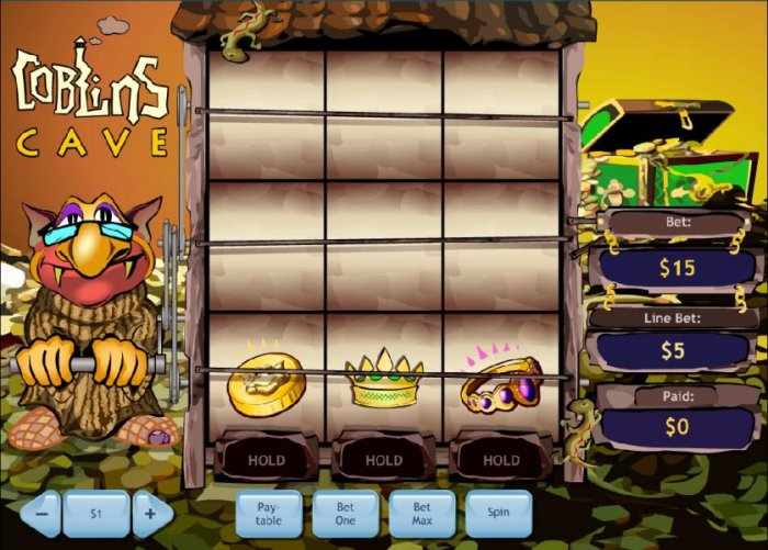 main game board featuring three lines and nine reels - All Online Pokies