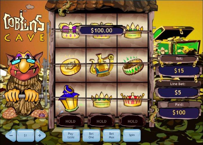 three crown symbols triggers a $100.00 big win - All Online Pokies