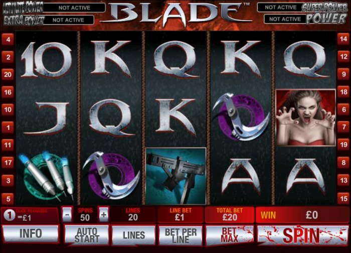 main game board featuring 5 reels and 20 paylines - All Online Pokies