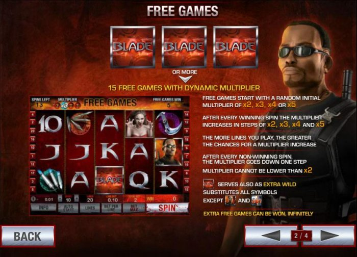 three or more blade symbols triggers 15 free games with dynamic multiplier - All Online Pokies