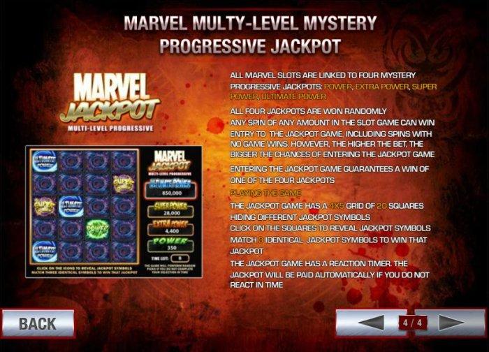 marvel multy-level mytery progressive jackpot. all four jackpots are won randomly - All Online Pokies
