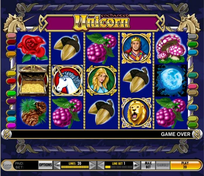 main game board featuring five reels and 20 paylines by All Online Pokies