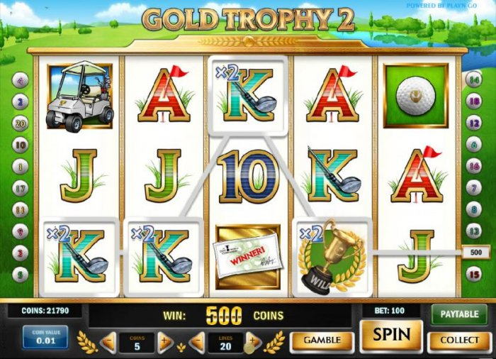 four of a kind with a x2 multiplier triggers a 500 coin jackpot by All Online Pokies