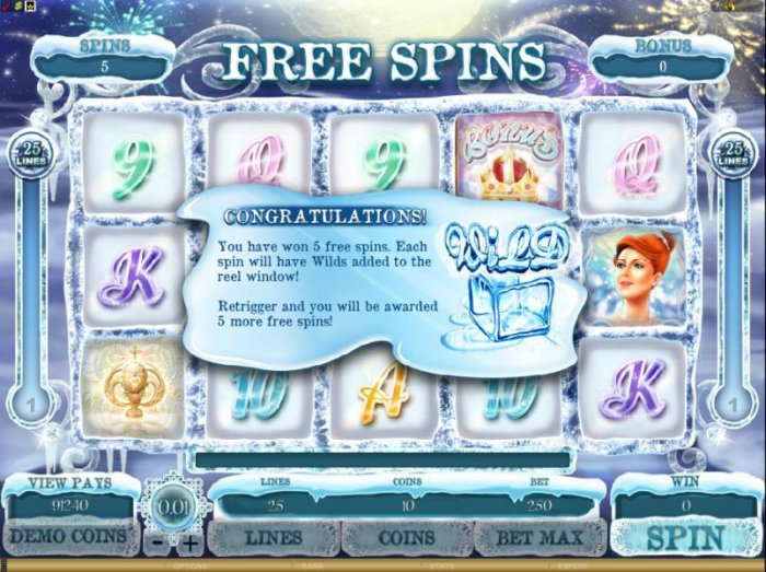 All Online Pokies - you have won 5 free spins. each spin will have wilds added to the reel window