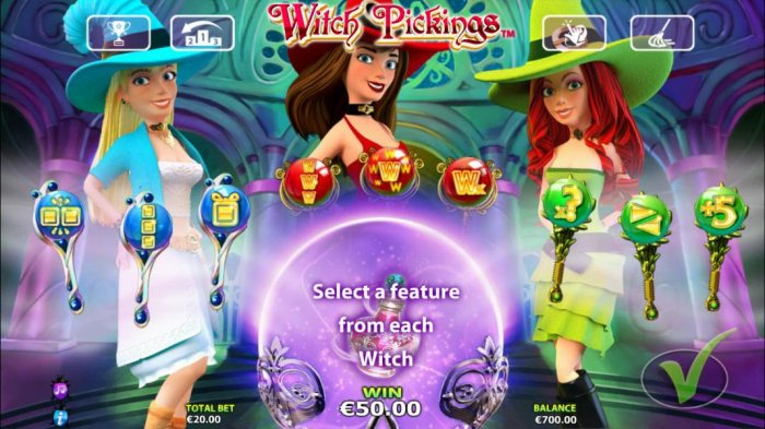 All Online Pokies - Select one item from each witch to use during the free games feature.