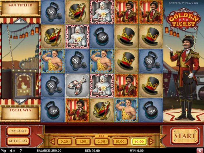 All Online Pokies - Main game board featuring five reels and 10 paylines with a $8,000 max payout