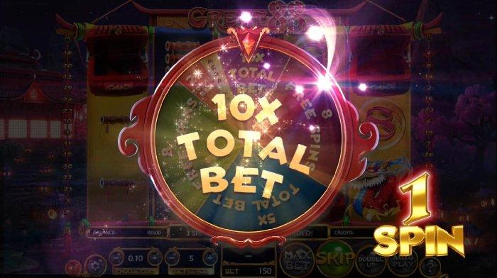 Bonus Wheel lands on an 10x total bet multiplier - All Online Pokies
