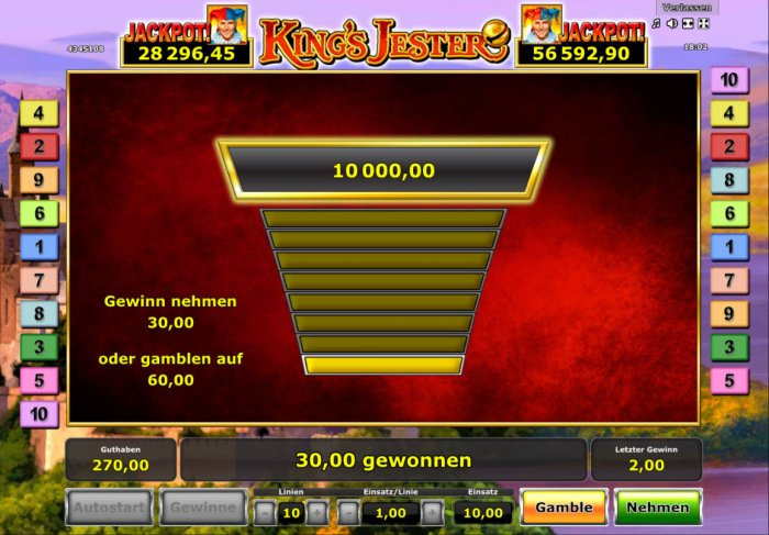 Gamble Feature Game Board - All Online Pokies