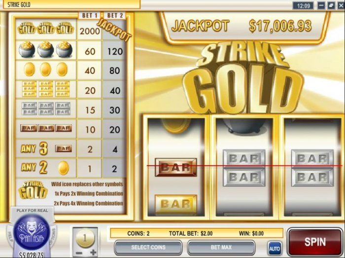 Main game board featuring three reels, 1 payline and a $2,000 max payout by All Online Pokies