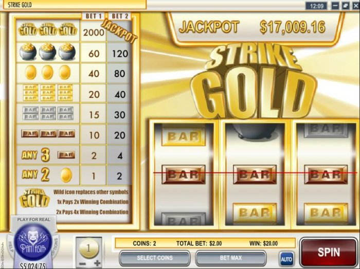 All Online Pokies - 20 coin payout triggered by three bar symbols