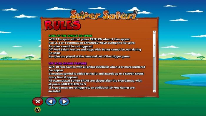 General game rules for the King of the Jungle Re-spins and Off Road Safari Feature. by All Online Pokies