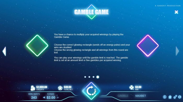 Gambling Rules - The gamble chance is 50:50 (win/lose), except on the last gamble-step. - All Online Pokies