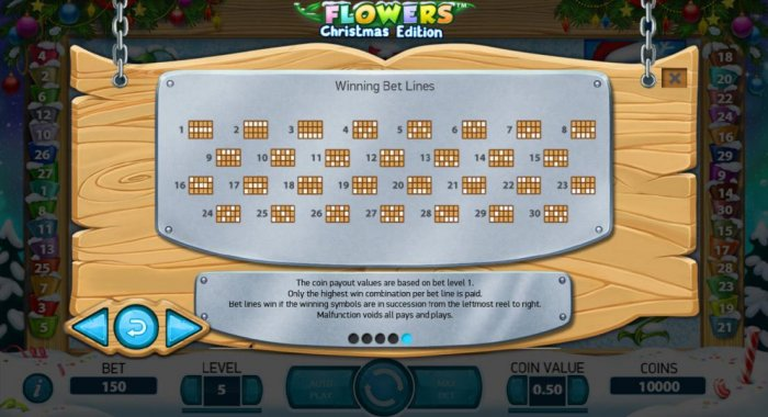 All Online Pokies - Payline Diagrams 1-30