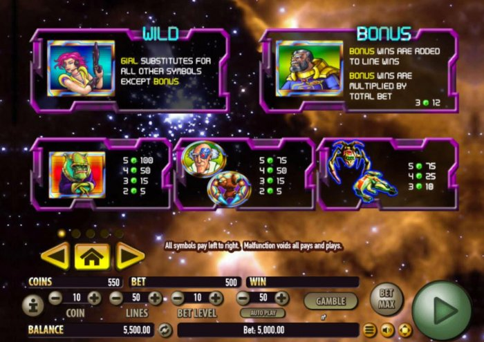 Galactic Cash Attack by All Online Pokies